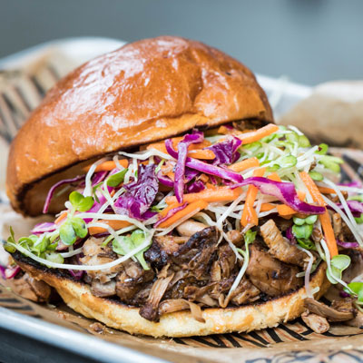 pulled pork sammy with slaw